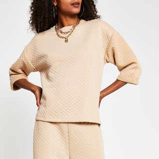 River Island Womens Beige short sleeve quilted sweatshirt