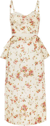 Brock Collection Dailey Floral-print Cotton-voile Peplum Dress