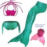 Houzi Mermaid Tail with Monofin Swimmable Swimwear Kids Girls Mermaid Swimsuit Bikini Mono Fin Set of 4pcs