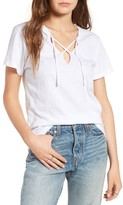 LnA Women's Raw Edge Lace-Up Tee