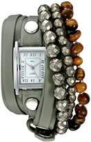 La Mer Women's Quartz Silver-Tone and Leather Automatic Watch, Color:Green (Model: LMSTONE3501)