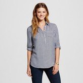 Merona Women's Favorite Shirt Xavier Navy Plaid L