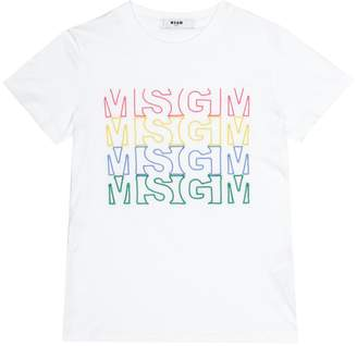 MSGM Kids Printed cotton T-shirt