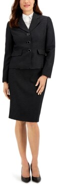 Le Suit Petite Striped Tweed Button-Front Notched-Collar Skirt Suit