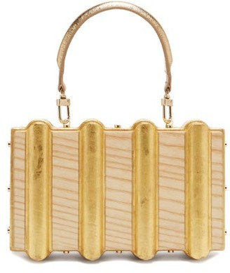 Sabry Marouf - The Djed Minaudiere Gold Leaf & Wood Bag - Beige Multi