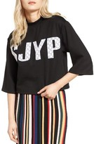 Sjyp Women's Embroidered Crop Tee