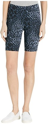 Hue Wavy Leopard Cotton High-Waist Bike Shorts (Blue Leopard) Women's Shorts