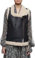 Chloé Leather Shearling Moto Vest, Soft Beige