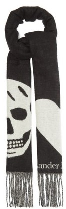 Alexander McQueen Skull And Heart Jacquard Wool-blend Gauze Scarf - Black Multi
