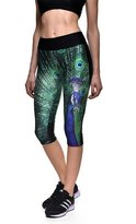 Hiwil Women's Stitching Stretch Fitted Cartoon Printed Casual Slim Leggings Pant 4XL