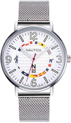 Nautica Wave Garden N83 White Dial Stainless Steel Mesh Band Watch