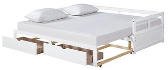 Winston Porter Wooden Daybed With Trundle Bed And Two Storage Drawers ,?Extendable Bed Daybed,Sofa Bed For Bedroom Living Room,White