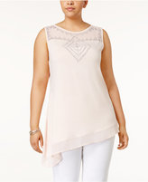 Belldini Plus Size Studded Asymmetrical Top