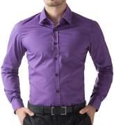 PAUL JONES Men's Casual Cotton Button Down Shirts (L, Purple)