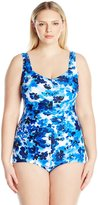 Maxine Of Hollywood Women's Floral Crush Shirred Girl Leg One Piece Swimsuit