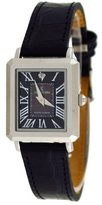 Le Château L_BLK Women's Diamond Accented Slim Leather Dress Watch