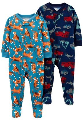 Child Of Mine By Carter's Child of Mine by Carters Baby & Toddler Boys 1-Piece Poly Footed Pajamas, 2-Pack (9M-5T)