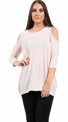 Candid Styles Womens Ladies Cut Out Cold Shoulder Batwing Long Top Tunic Loose Baggy Oversize XXL 20-22 Plus Size