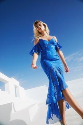 Little Mistress Lela Cerulean Blue Textured Leaf Cold-Shoulder Maxi Dress