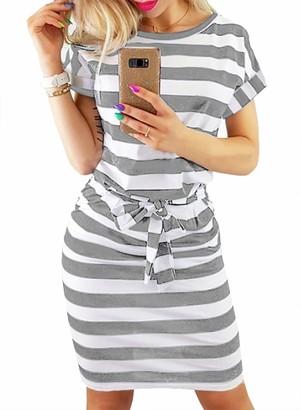 Happy Sailed Ladies Casual Summer Tie Waist Striped Short Sleeve Midi Dress Tunic Dress Size 12
