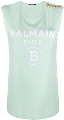 Balmain Logo-Print Tank Top