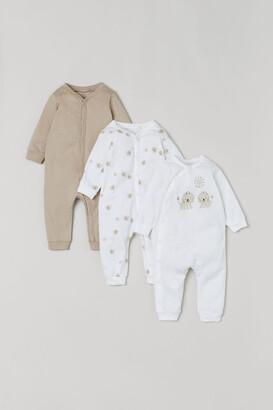 H&M 3-pack Cotton Pajamas - Beige