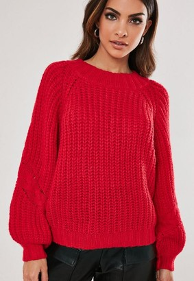 Missguided Red Raglan Cable Knit Sleeve Sweater