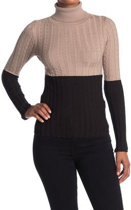 Vertigo Colorblock Cable Knit Turtleneck Shirt