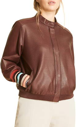Marina Rinaldi Perforated Leather Bomber Jacket