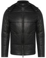 Hugo Boss Nortik Lambskin Quilted Puffer Coat, Removable Hood 38R Black