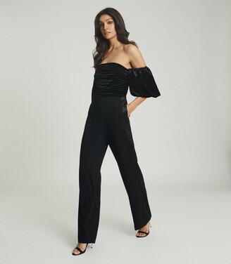 Reiss Julianna - Velvet Puff-sleeve Jumpsuit in Black