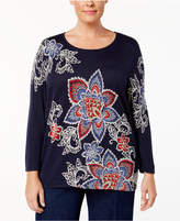 Alfred Dunner Plus Size Gypsy Moon Collection Printed Sweater