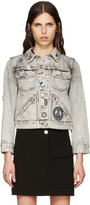 Marc Jacobs Ecru Denim Embroidered Shrunken Jacket