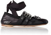 Miu Miu Women's Double-Buckle Ankle-Tie Flats