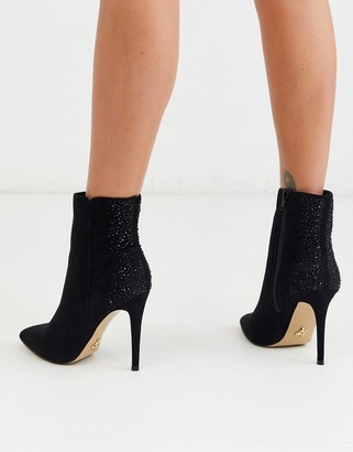 Lipsy pointed ankle boot with rhinestone back detail in black