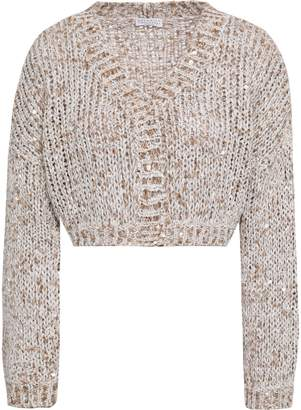 Brunello Cucinelli Cropped Sequined Open-knit Cardigan