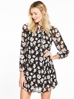 Very Pleated Floral Print Long Sleeve Dress