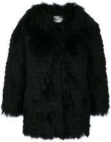 Yves Salomon collarless jacket - women - Polyamide/Polyester/Spandex/Elastane/Racoon Fur - 38