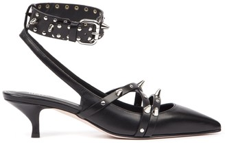 RED Valentino Black Leather Studded Pumps