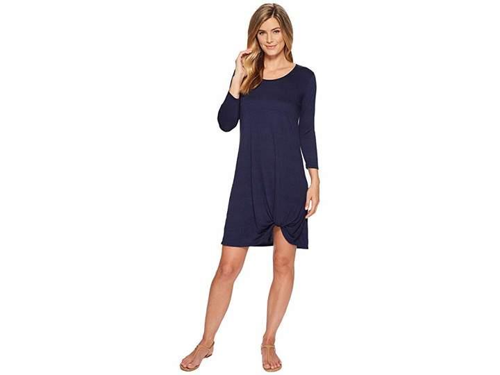 Mod-o-doc Soft Crinkle Jersey 3/4 Sleeve Twist Hem Dress