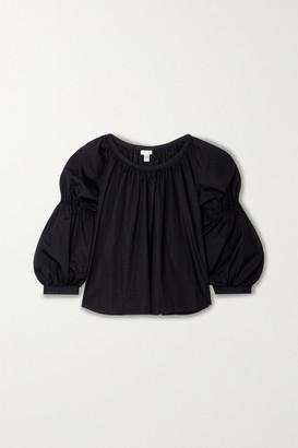 Comme des Garcons Gathered Cotton-poplin Blouse - Black