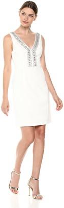 Brinker & Eliza Women's V-Neck Sheath Dress with Beaded Neckline
