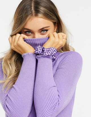 Stradivarius ribbed high-neck knit in lilac