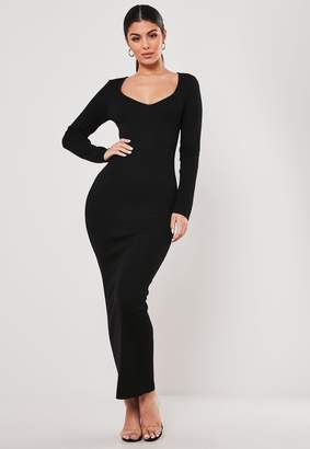 Missguided Black V Neck Knitted Maxi Dress