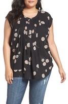 Daniel Rainn Plus Size Women's Floral Print Pleat Blouse