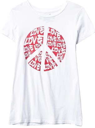 The Original Retro Brand Kids Vintage Cotton Peace and Love Tee (Big Kids) (White) Girl's Clothing