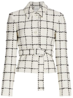 St. John Eyelash Windowpane Knit Belted Jacket