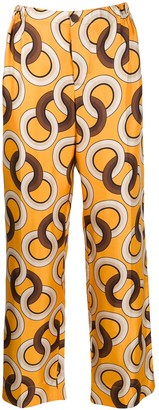 F.R.S For Restless Sleepers Silk Geometric-Print Trousers