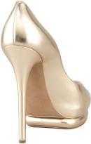 Nicholas Kirkwood Metallic Leather Peep-Toe Double-Platform Pump, Gold