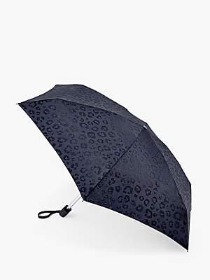 Fulton Glitter Leopard Print Telescopic Umbrella, Black
